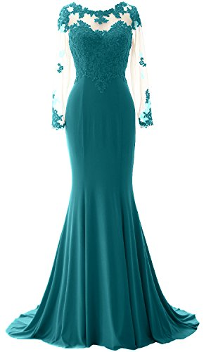 Lace Macloth Teal The Bride Long Evening Of Sleeves Gown Mother Dress Women Mermaid rqzOaZEr