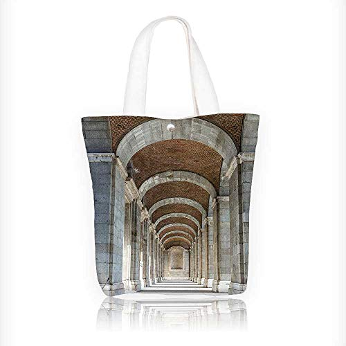 Women's Canvas Tote Handbags Corridor Madrid in Historic Famous Landmark Facade Print Grey Casual Top Handle Bag Crossbody Shoulder Bag Purse W11xH11xD3 INCH