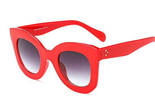 Freckles Mark Semi Cat Eye Butterfly Sunglasses Thick Plastic Frame Clear Lenses (Red, - Sunglasses Days Faded