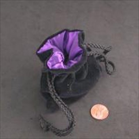 Purple Black Velvet Small Dice Bag Koplow Games KPL09914