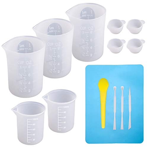 Large Silicone Measuring Cups and Tools Set Silicone Mixing Cups Stir Sticks Spoons Silicone Mat for Epoxy Resin Casting DIY Slime Art Making Waxing Kitchen ()
