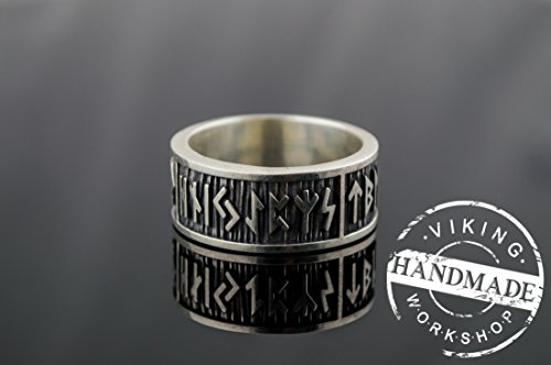 Elder Futhark Runes Ring with Wide Rim Sterling Silver Viking Jewelry