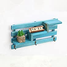 NHsunray Wood Wall Shelf, Creative Floating 3-Tier Storage Wooden Wall Rack Retro 3 Hook Decorated, mini potted plants, seashells, Photos, Candles, Books, Vase, Cosmetic and small dolls Shelves (Blue)