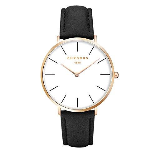 - Simple Women Men Quartz Watch PU Leather Strap Ladies Girls Dress WristWatch, Black-Rose Gold