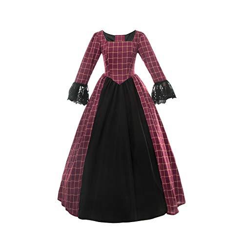 Nuoqi Women Civil War Victorian Dress Costume American Pioneer Colonial Prairie Dress Red -