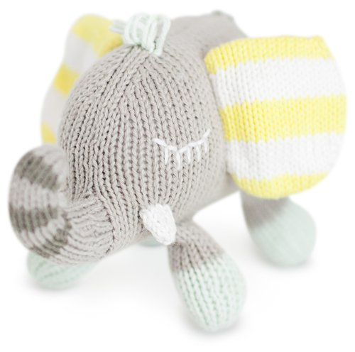 Finn + Emma Rattle Buddy Organic Cotton Knit Rattle for Baby Boy or Girl – Piper the Elephant