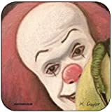 Pennywise from Stephen Kings IT (colour) - Original Film Themed Artwork Portrait by Kev Guyler - Coaster design by Coasteroo by Coasteroo