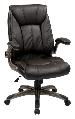Office Star Faux Leather Seat and Mid Back Executive Chair with Padded Arms and Cocoa Finish Accents, Espresso (Managerial Mid Back Leather Chair)