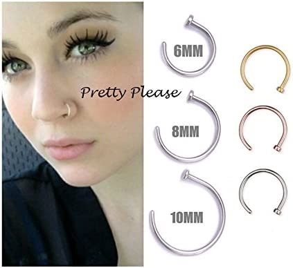 Other 925 Sterling Silver Open Nose Ring Hoop 0 6mm Piercing 8mm