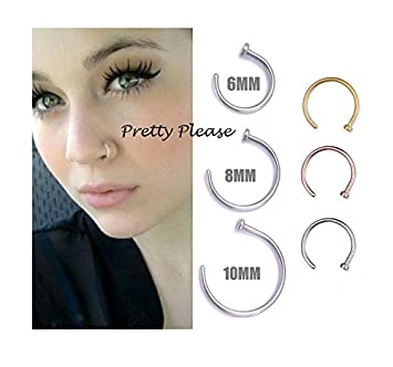 925 Sterling Silver Open Nose Ring Hoop 06mm Piercing 6mm Gold