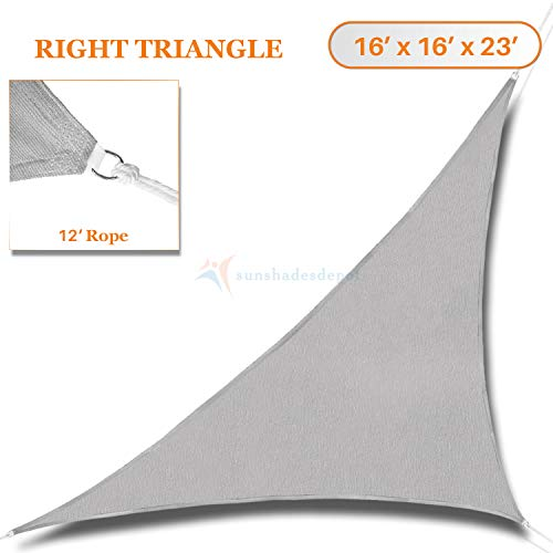Sunshades Depot 16' x 16' x 22.6'Sun Shade Sail Right Triangle Permeable Canopy Light Grey Custom Commercial Standard