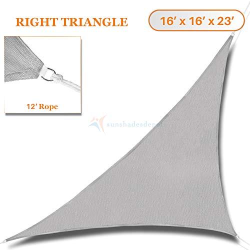 Sunshades Depot 16' x 16' x 22.6'Sun Shade Sail Right Triangle Permeable Canopy Light Grey Custom Commercial Standard