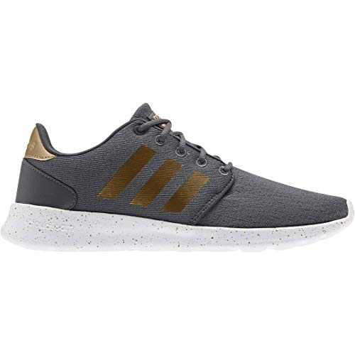adidas Women's Cloudfoam Qt Racer Sneaker, Grey Six/Tactile Gold met./FTWR White, 11.5