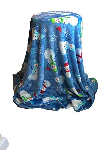 Personalized Blanket 5'x6' - Snowmen- Custom Embroidery - Monogrammed Throw Blanket - Ultra Plush