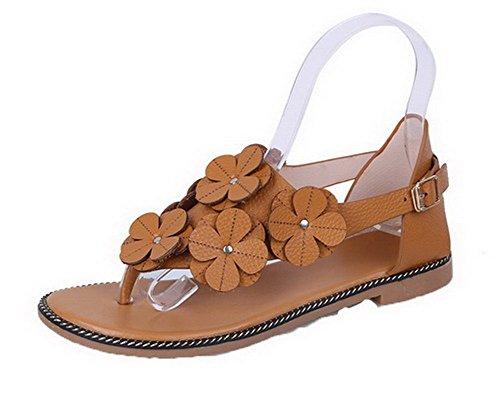 VogueZone009 Women Microfibre Split Toe Solid Buckle Sandals Brown