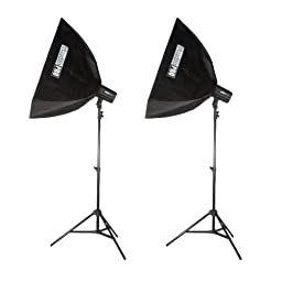 StudioPRO 400 Watt Monolight Strobe Flash Photography Lighting Kit for Wedding, Food Blogging, Portrait, Product Photo - (2) 200W/s Flash Head with Light Stands & 20\
