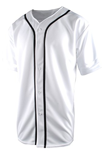TL Men's Baseball Hipster Button Down Athletic Short Sleeve Jersey Top POLY-WHITE-2XL