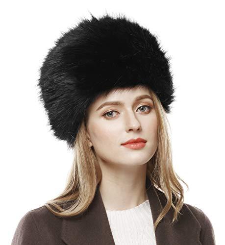 Lovful Winter Women Faux Fur Russian Cossack Style Hat Winter Wrap Hat,Black,One Size