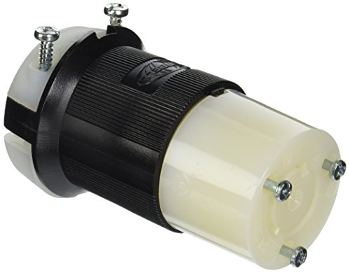 Hubbell HBL2323 Locking Connector, 20 amp, 250V, L6-20R, Black and White