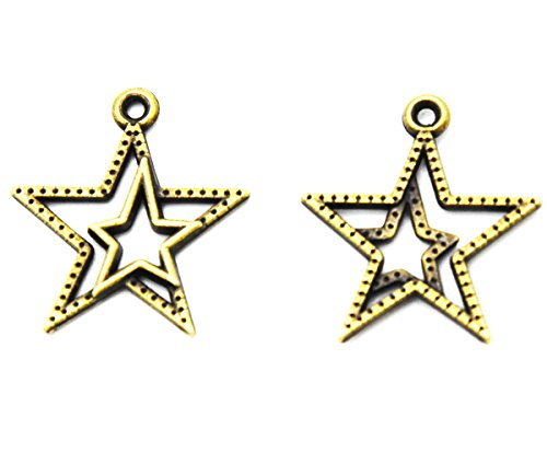 Youkwer 100Pcs 21mm x23mm Vintage Metal Alloy Double Star Sign Christmas Charms Beads Pendants for DIY Crafting and Earring Necklace Bracelet Jewelry Making Findings Accessories(Antique -