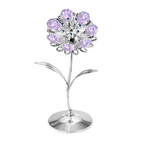 MASCOTUSA Chrome Plated Sunflower Free Standing with Purple Swarovski Element Crystal, Best Gift for Mother's Day Valentine's Day and Wedding