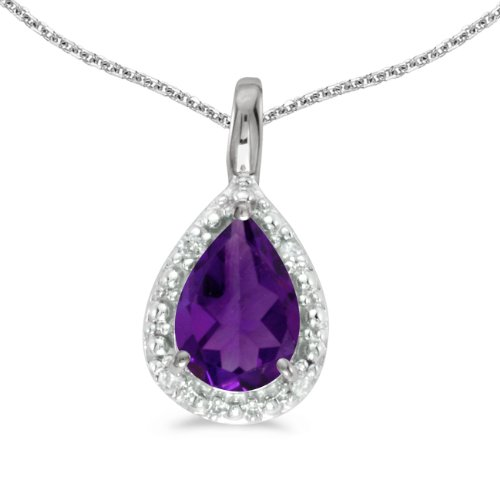 14k White Gold Pear Amethyst Pendant with 18