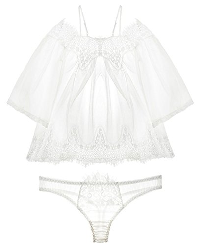 Cute Product Women's Sexy See-through Lingerie with G-string Set Lace Camisole Babydoll Sleepwear