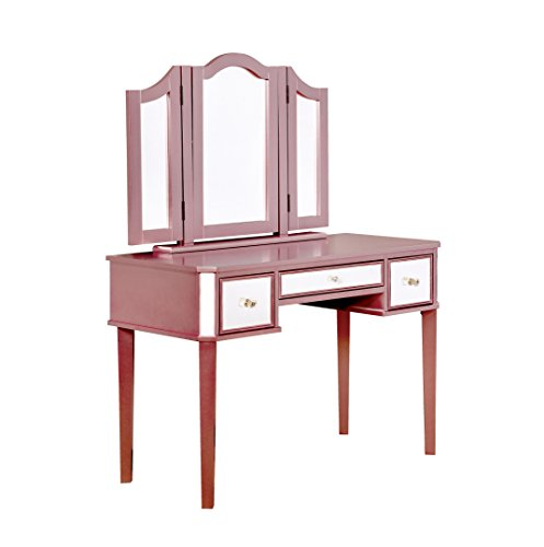 HOMES: Inside + Out IDF-DK6148RG Dravite Vanity Table with Stool, Rose Gold by HOMES: Inside + Out