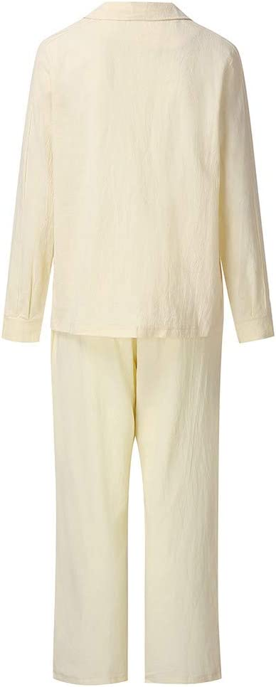 Womens Two Piece Blazer Set Cotton Long Sleeve V Neck Blazer Tops Loose High Waist Wide Leg Pants Lightweight 2019 Casual Office Outfit Set