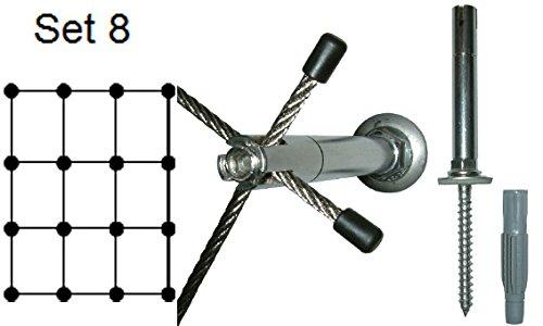 Ø 3mm Edelstahlseil, Rankhilfe 03 - Set 8 - Wandabstand: 7,5 cm, 32 m Edelstahlseil, 16 x Abstandshalter Edelstahl