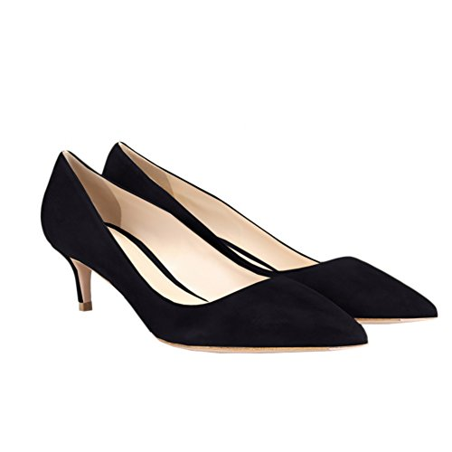 Suede Pointed Heel Closed Toe faux Dress Pumps Women's Black Kitten Low Wedding VOCOSI Party 6angqxw