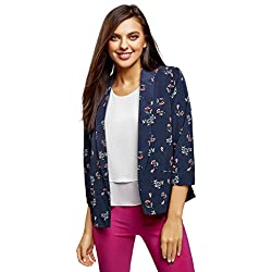 oodji Collection Women's Relaxed-Fit No Closure Blazer, Blue, 4