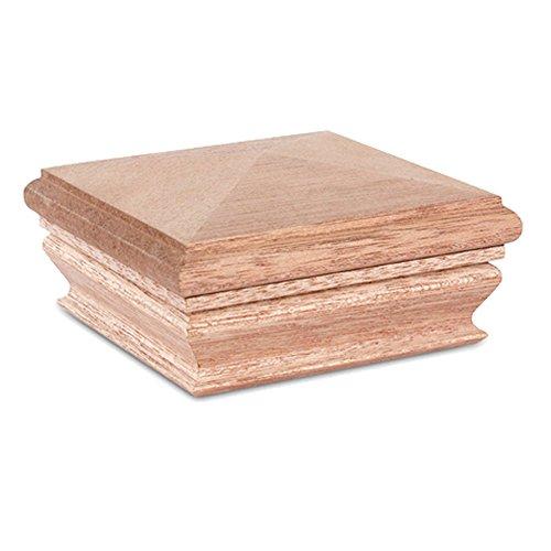 - Woodway Pyramid 4x4 Post Cap - Premium Mahogany Wood Fence Post Cap, Newel Post Top 4 x 4, Fits Up To 3.5 x 3.5 Inch Post, 1PC