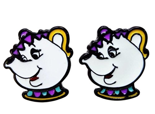 Beauty & The Beast Mrs. Potts Character Metal Enamel Stud Earrings