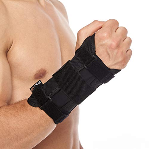 Carpal Tunnel Wrist Brace by BraceUP® with Metal Wrist Splint for Hand and Wrist Support and Tendonitis Arthritis Pain Relief - for Men and Women (L/XL, Right Hand)