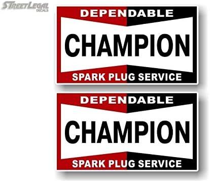 "CHAMPION Old Style Spark Plug STICKER 6/"" Classic Workshop Garage Race Racing"