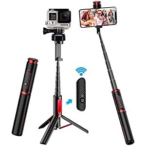 Selfie Stick Tripod, CAFELE All in One Extendable Tripod Stand with Detachable Bluetooth Remote,Lightweight Aluminum Tripod for iPhone 11/XS MAX/X/8/8 Plus, Galaxy S10/S9/S9 Plus, More