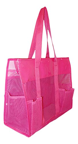 101 BEACH Waterproof Mesh Shopper Utility Beach Bag Zipper Organizing Tote bag (Pink) -