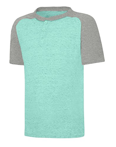 Hanes Boy`s X-Temp Short Sleeve Colorblocked Snow Nep Henley, D175, 2XL, Spring