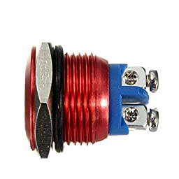 BephaMart 3A/250V16mm Horn Button Switch Red Metal Stainless Steel Push Button Switch Shipped and Sold by BephaMart