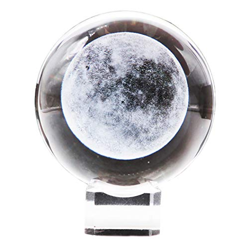 (Waltz&F Crystal Ball Glass Sphere Display moon Paperweight Healing Meditation Ball with Clear Stand for Creative Gift)