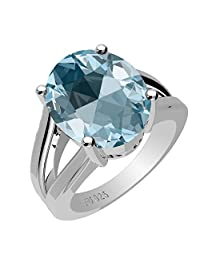 3.90ctw,Genuine Blue Topaz 9x11mm Oval & Solid .925 Sterling Silver Rings