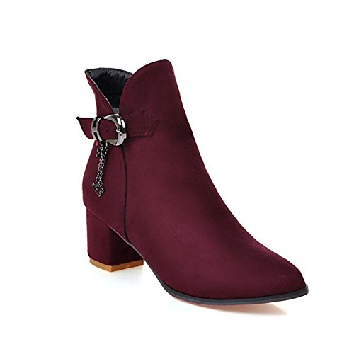 NVXIE Women's Ladies Short Boots Rough High Heel Pointed Toe Suede Black Wine Red Fall Winter Party Work WINERED-EUR41UK758 6FVbsrwzr