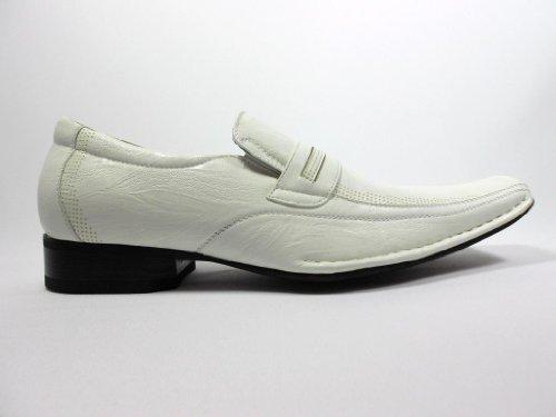 Delli Aldo Men's 19229-White Classic Squared Toe Loafers, White, 10