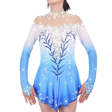Heart&M Figure Skating Dress for Girls Women Ice Skating Competition Performance Velvet Stretchy Rhinestone High Elastic Long Sleeves Classic Skating Wear bluee