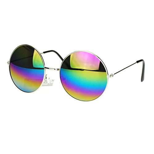 Oil Slick Mirror Lens 70s Hippie Round Circle Metal Wire Rim Sunglasses - 70s Circle Glasses