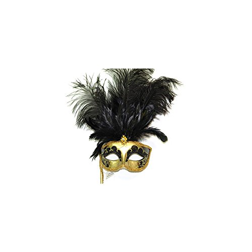 [Feather Venetian Mask with Stick BLK] (Feather Mask With Stick)