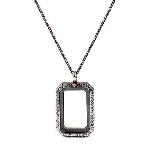 Paialco Jewelry DIY Rectangle Glass Floating Living Memory Charms Locket Pendant Necklace, 25 Inches Chain-Black ()