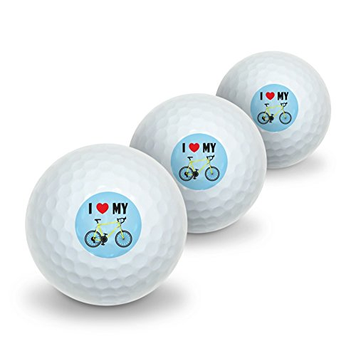 I Love My Bike Road Bicycle Cycling Novelty Golf Balls 3 Pack by Graphics and More