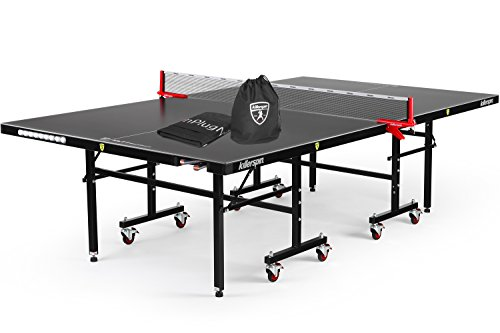 Killerspin MyT7 BlackStorm Table Tennis Bundle - Black Pocket Outdoor Ping Pong Table with Playback Position and Quick Assembly and  Universal Size MyT Jacket for Table Protection
